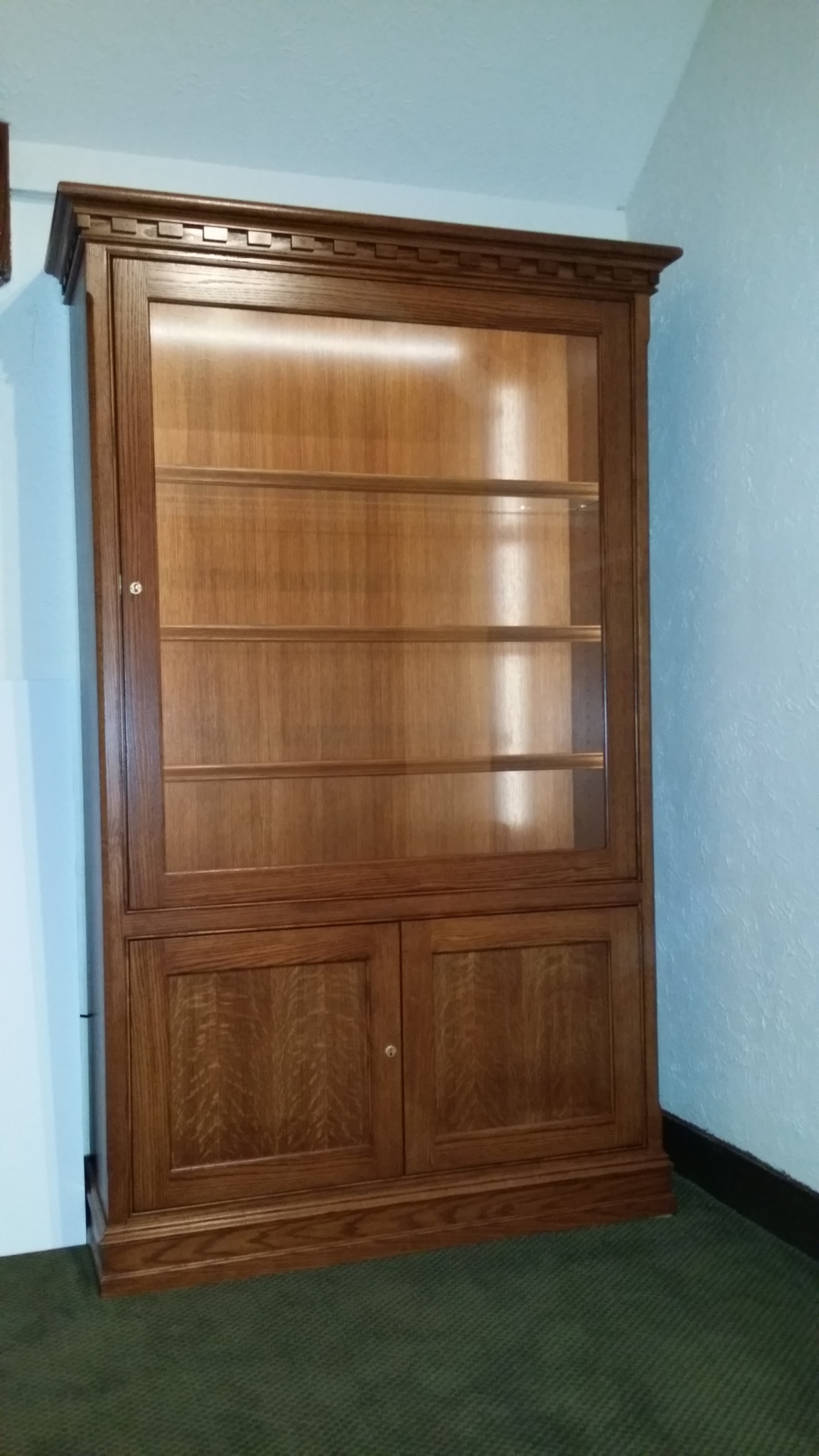 Custom lighted display cabinet for hinsdale golf club hand made custom cabinets hand made - Custom display cabinets ...