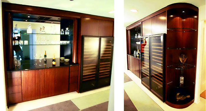Custom bar with wine cellar
