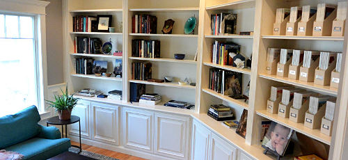 custom home library in white